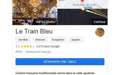Le bouton bleu « Réserver une table » sur Google My Business