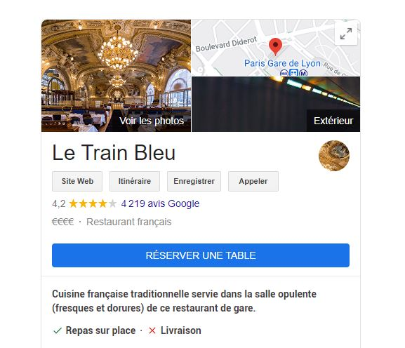 Le bouton bleu « Réserver une table » sur Google My Business